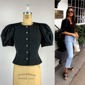 Vintage 80s Black Puffy Short Sleeve Peplum Jacket